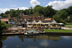 Le Talbooth Hotel Terrace awning over river