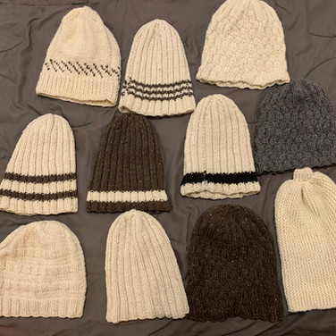 One of a kind hand knit wool hats