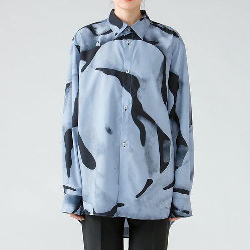 Dessin collage print shirt/BLUE