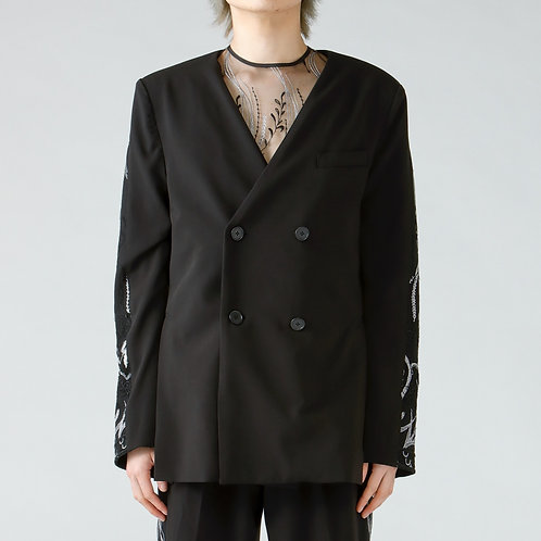 Embroidery collarless jacket/BLACK