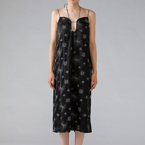 Embroidery Satin Camisole One-Piece / BLACK