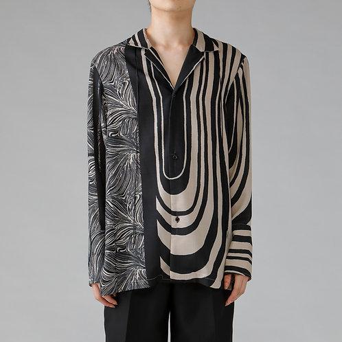 Graphic Linen Like Shirt / BEIGE