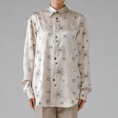 Embroidery Satin Shirt / BEIGE