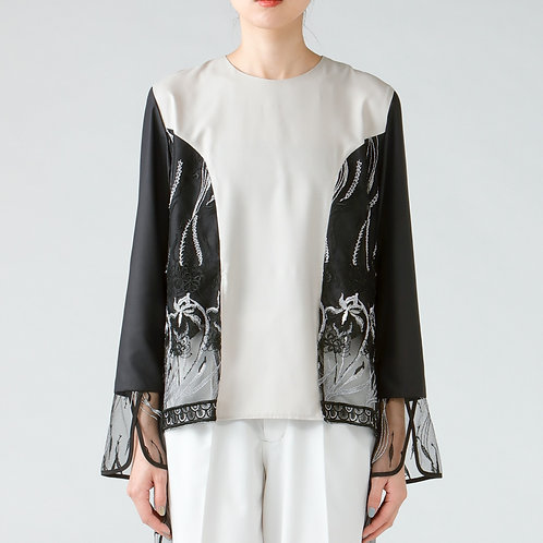 Embroidery blouse/BI-COLOR