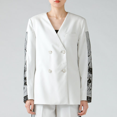 Embroidery collarless jacket/IVORY