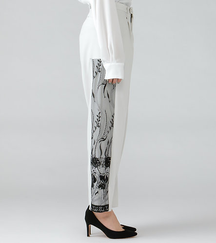 Embroidery straight trouser/IVORY