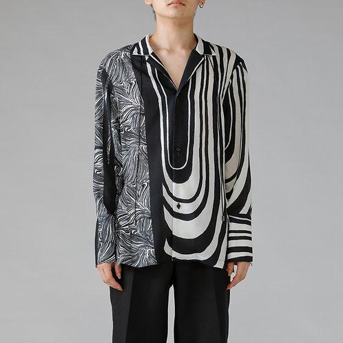 Graphic Linen Like Shirt / WHITE