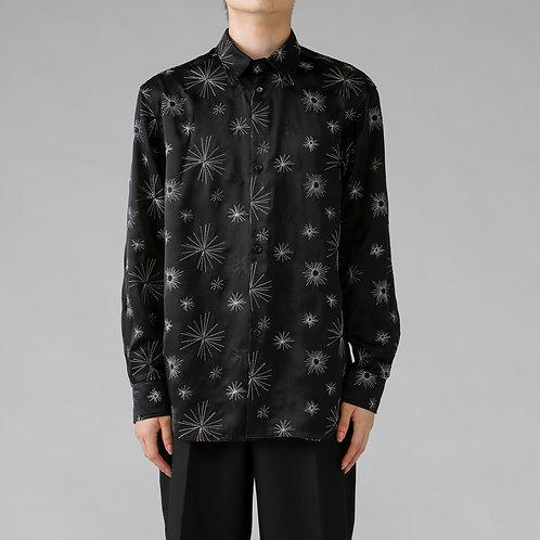 Embroidery Satin Shirt / BLACK