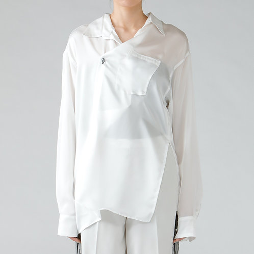 Deformation over silhouette shirt/WHITE