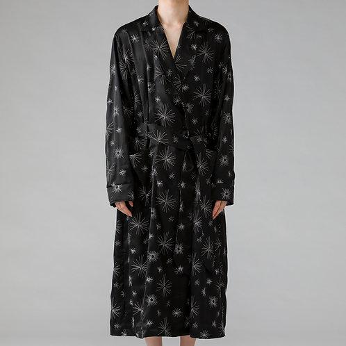 Embroidery Satin Robe Coat / BLACK