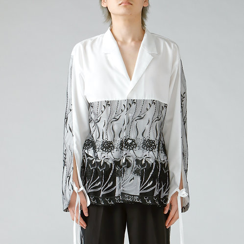 Embroidery open-collared shirt/WHITE