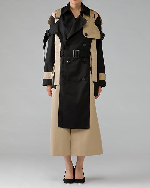 Belted Trench Coat / BI-COLOR