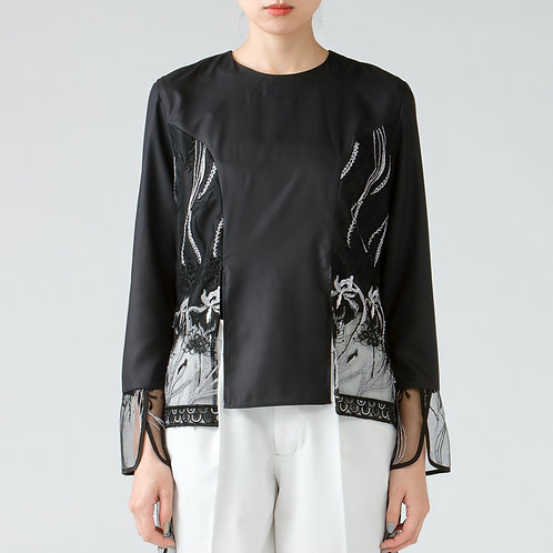 Embroidery blouse/BLACK