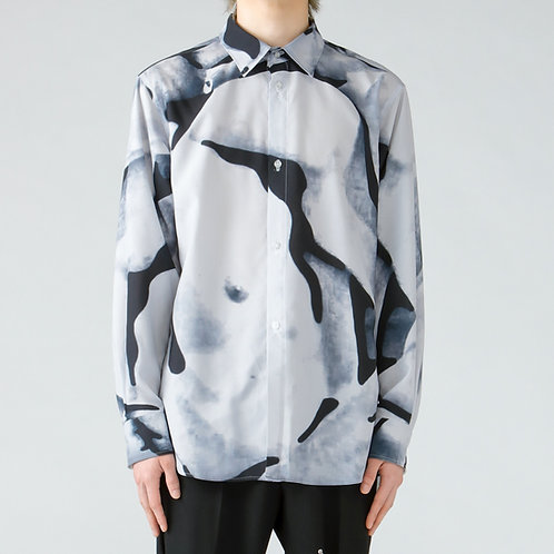 Dessin collage print shirt/White