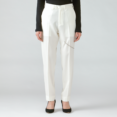 Chain detail  tapered trousers/WHITE