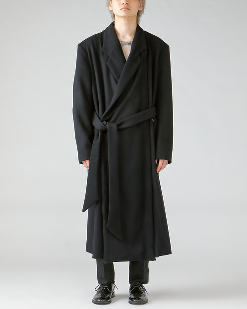 Double breasted wool coat/BLACK