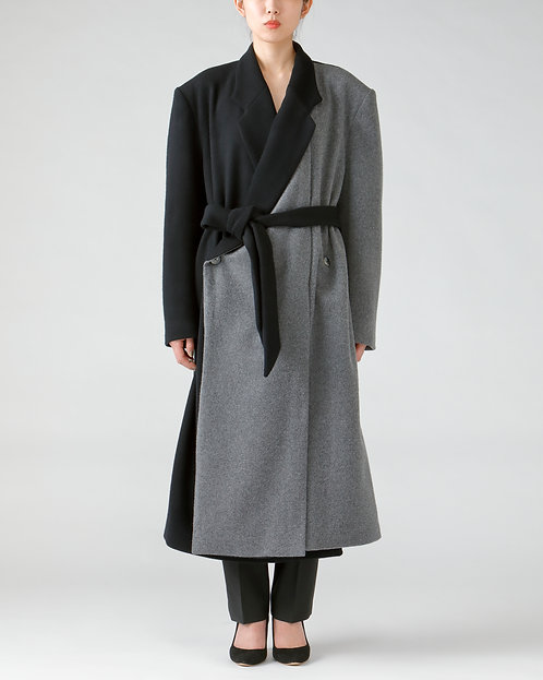 Double breasted wool coat / BI-COLOR
