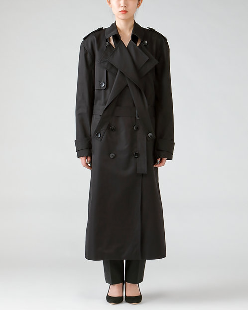 Double lapel trench coat /BLACK