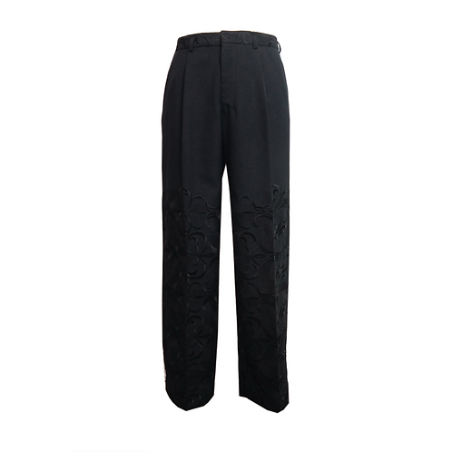 Embroidery Straight Trousers / BLACK