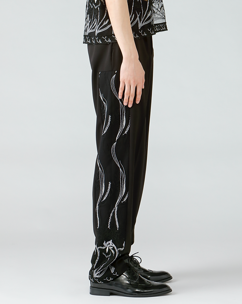 Embroidery straight trouser/BLACK