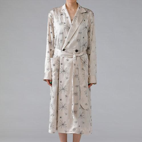 Embroidery Satin Robe Coat /BEIGE