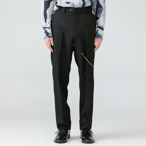 Chain detail  tapered trousers/BLACK