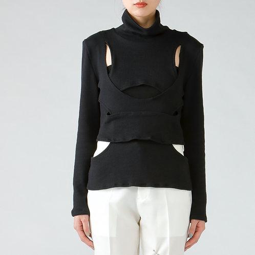 Assemble knit tops/BLACK
