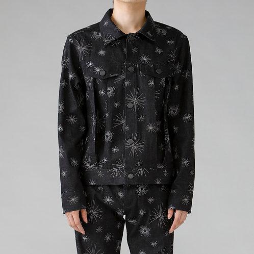 Embroidery Denim Jacket/BLACK