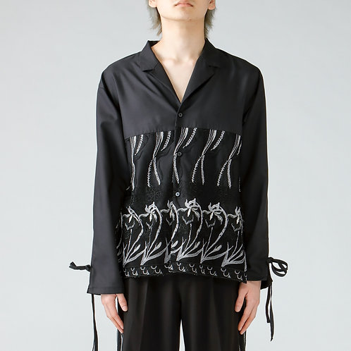 Embroidery open-collared shirt/BLACK