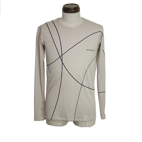 Line Print Knit Inner / BEIGE
