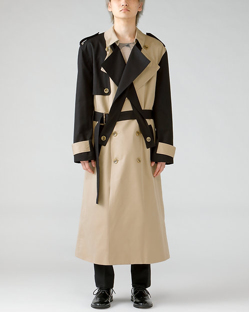 Double lapel trench coat / BI-COLOR