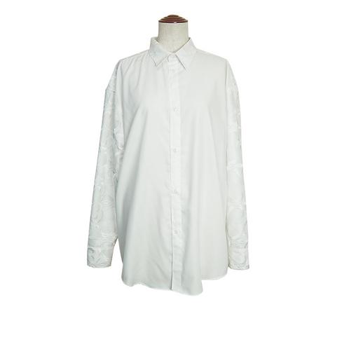 Embroidery Sleeve Dress-Shirt / WHITE