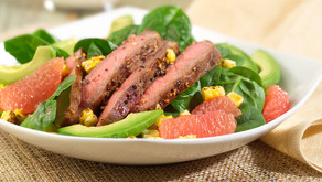 RECIPE: Grilled Steak-Corn-Spinach-Grapefruit Salad