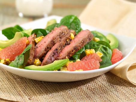 RECIPE: Grilled Steak-Corn-Spinach-Grapefruit Salad
