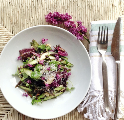 Make This: Spring Salad with Purple Asparagus and Baby Shiitakes