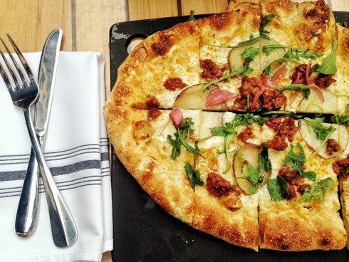 Eat This: Red Feather's Chorizo and Truffled Potato Pizza