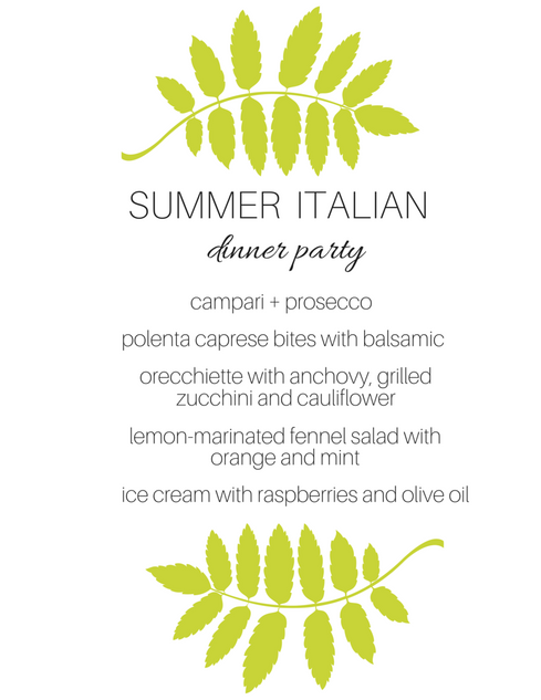 Summer Vegetarian Italian Dinner Party