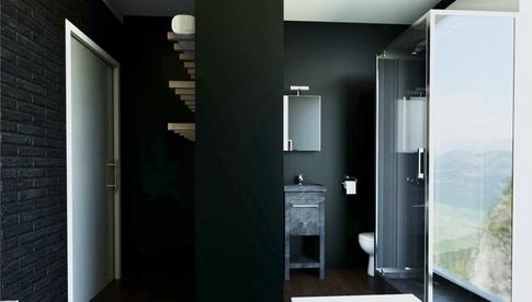 Rendering of single room's bathroom