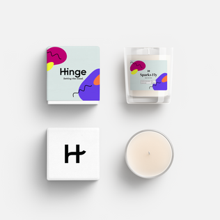 """Hinge """"Date from Home"""" candle"""