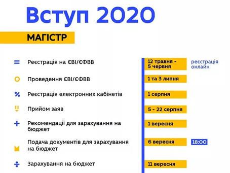 ВСТУП 2020 МАГІСТРАТУРА