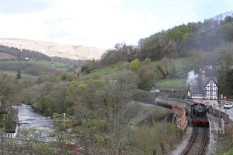 Steam Train passing Berwyn Stationmasters House