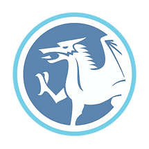 Welsh blue and white dragon logo