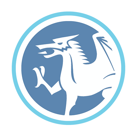 Welsh dragon blue and white logo