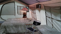 Inside of the Glamping tent