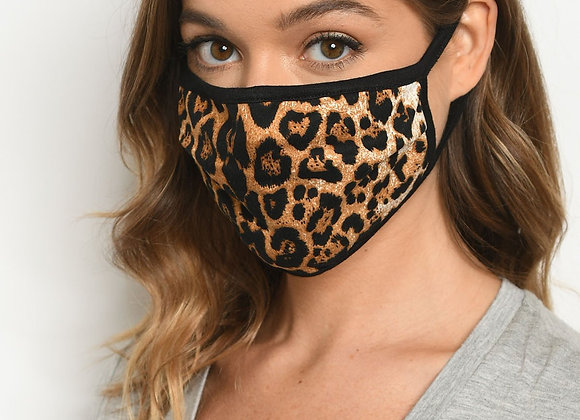 Brown Leopard Print Reusable Face Mask for Adults
