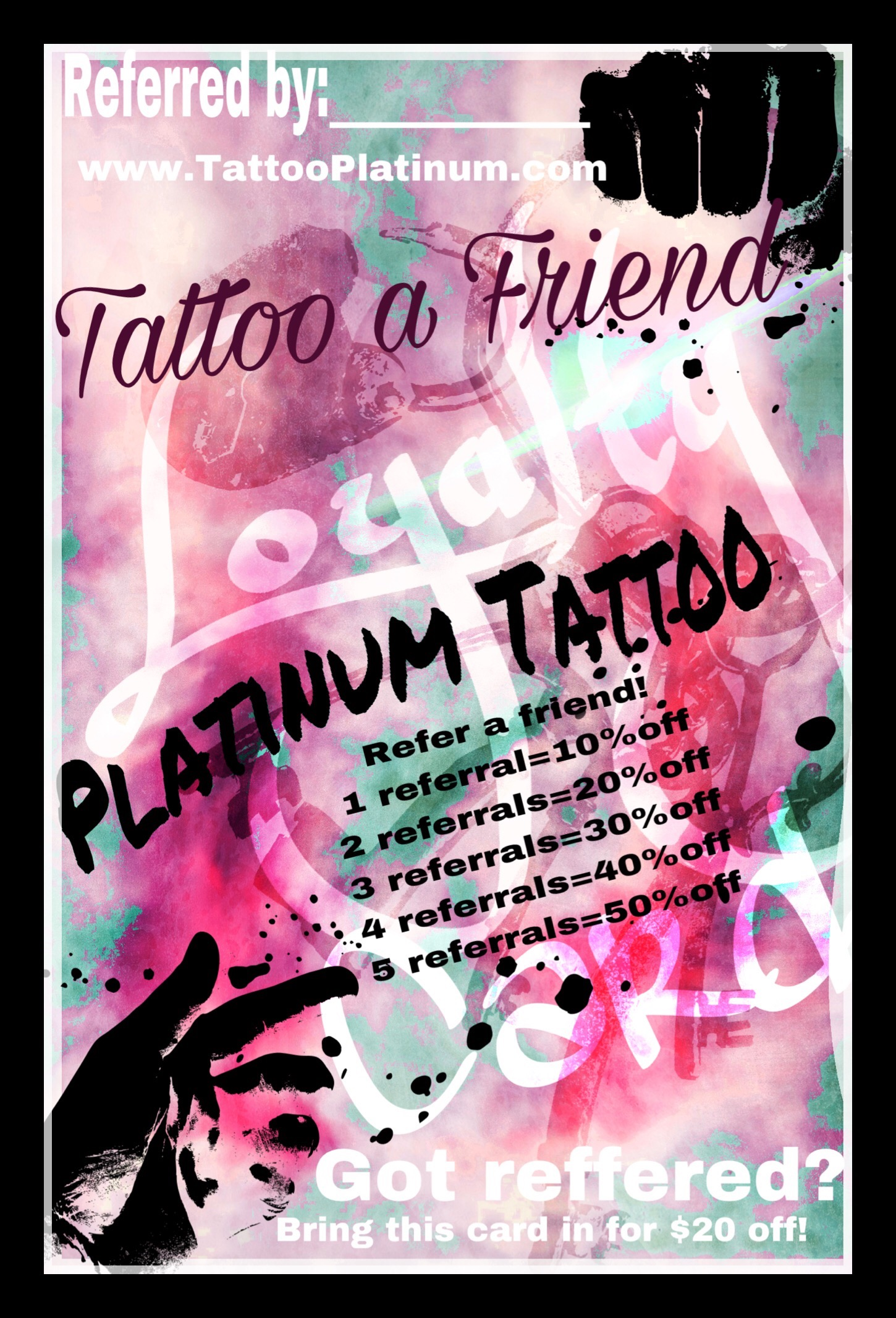 Platinum Tattoo Loyalty Card