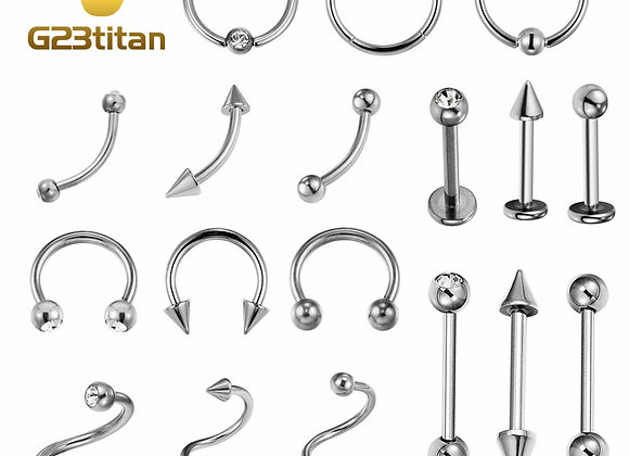 G23 Titanium: Hypoalergenic/ Nickel FREE/ Body Piercing Jewelry/ Silver color