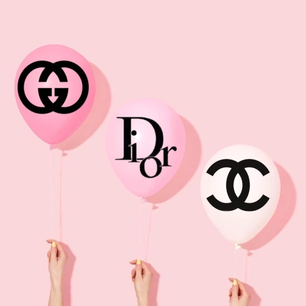 Luxury label art : gucci , dior and chanel balloons
