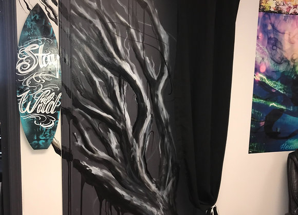 Hand painted tree or foliage mural