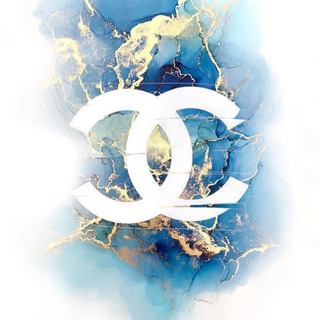 Chanel logo on blue and gold marble